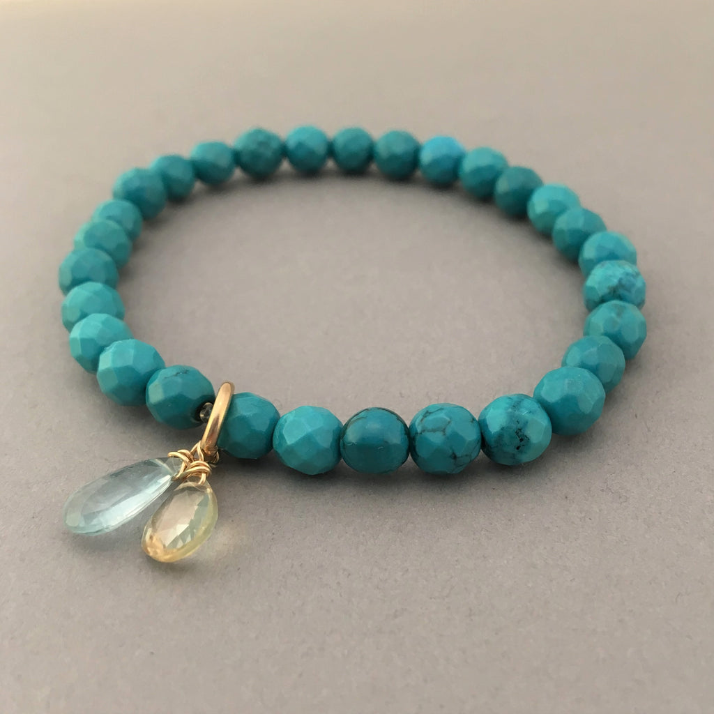 Turquoise Beaded Bracelet with Citrine and Aquamarine Stones