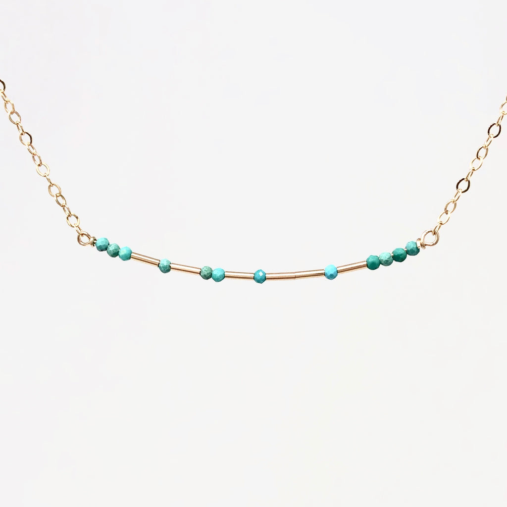 TURQUOISE Skinny Bar Morse Code Necklace
