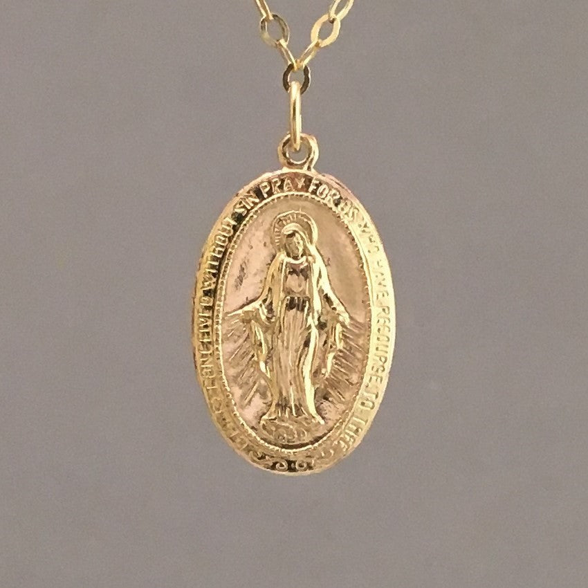 LARGE OVAL Virgin Mary Necklace available in Gold Fill or Sterling Silver