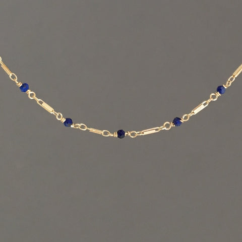 Blue Lapis Lazuli Gold Bar Choker Necklace also in Sterling Silver