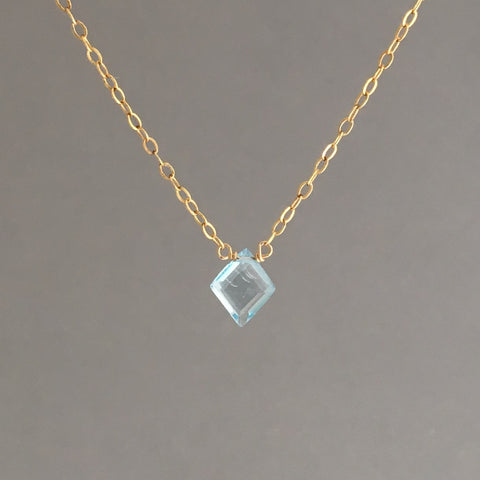 Blue Topaz Diamond Necklace in Gold, Silver, and Rose Gold