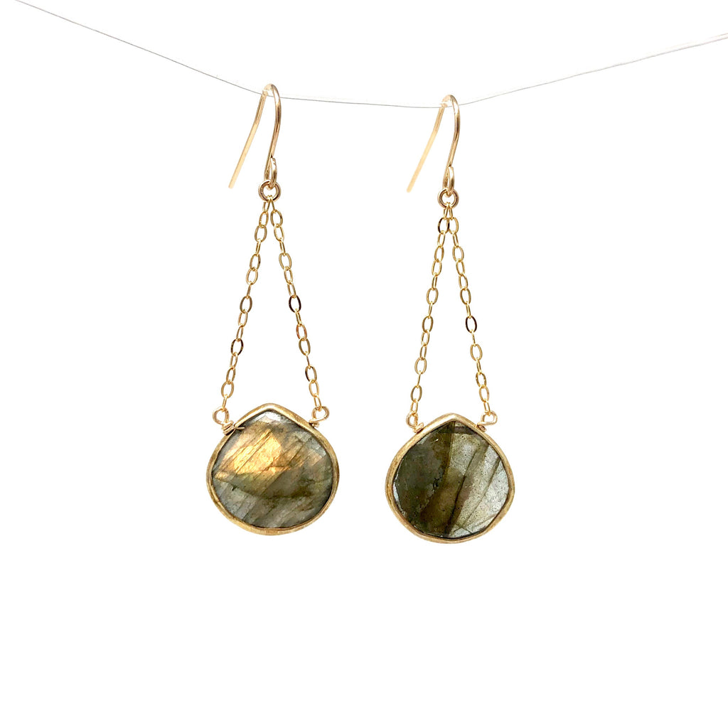 Dangling Labradorite Gold Earrings