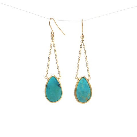 Dangling Turquoise Gold Earrings