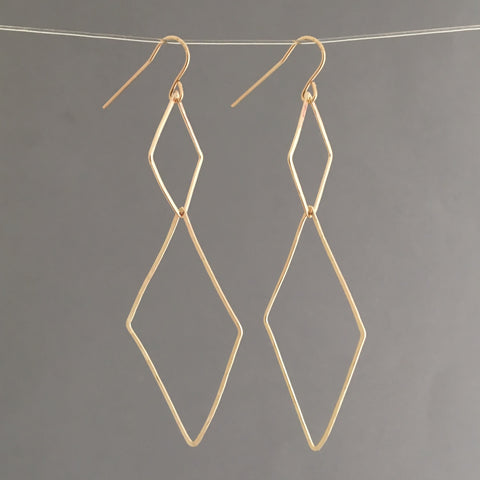 Double Diamond Link Earrings