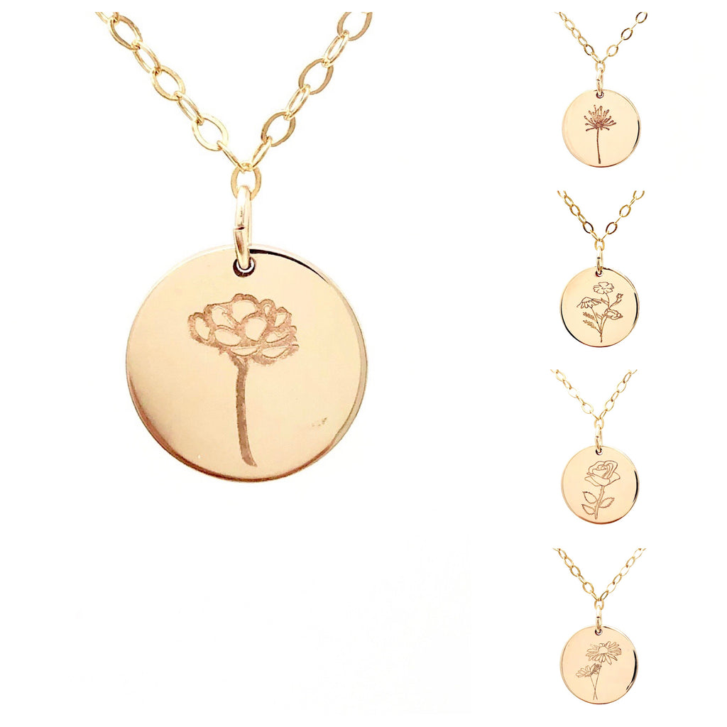 FLOWER ENGRAVED Disc Necklace