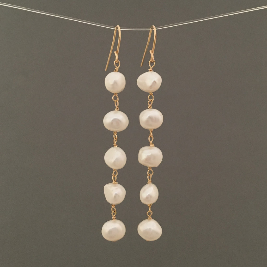 Five Pearl Drop Earrings