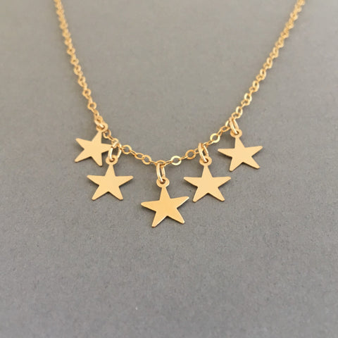 Five Gold Star Necklace also in Silver