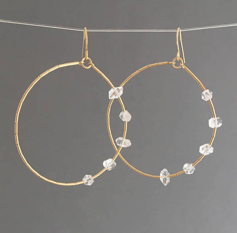 FIVE Herkimer Circle Hoop Earrings