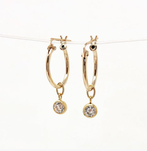 Dangling Swarovski Crystal Gold Fill Huggie Earrings