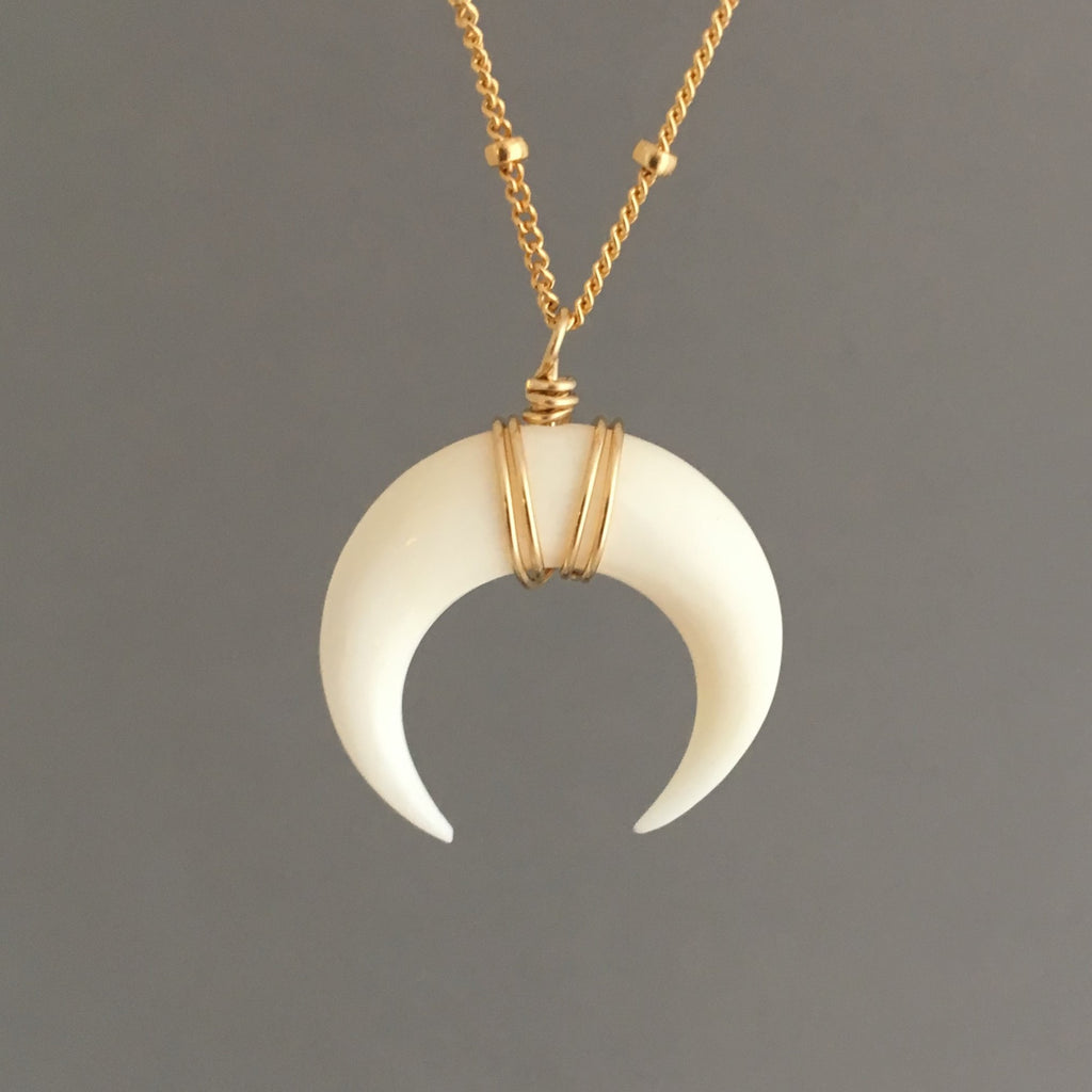 White Bone Double Horn SATELLITE CHAIN Necklace // Crescent Moon