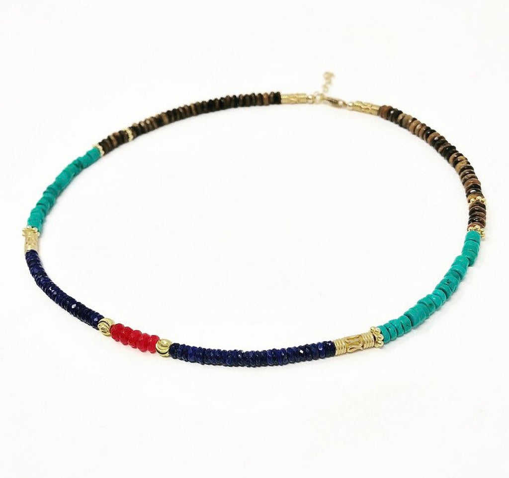 Multi Colored Beaded Stone Necklace (Red/Turquoise/Lapis/Tiger Eye)