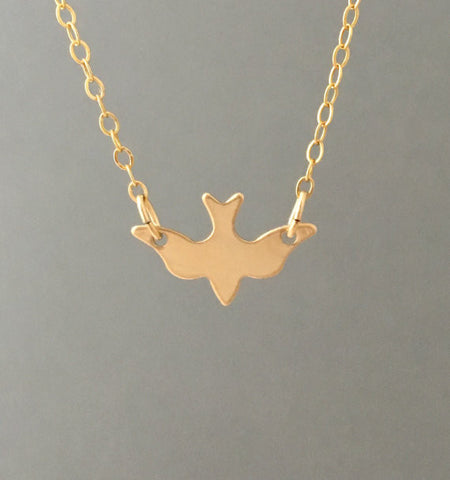 Flying Dove Bird Necklace