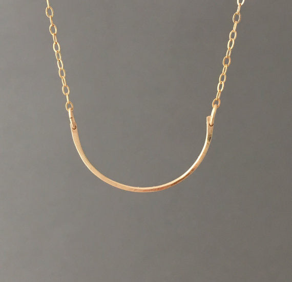 HALF CIRCLE Hammered Curved Bar Necklace