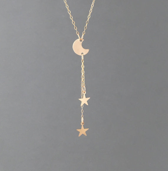 Moon and the Stars Y Lariat Drop Necklace