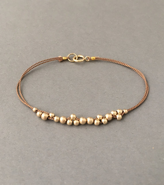 Cluster Beaded Silk String Bracelet