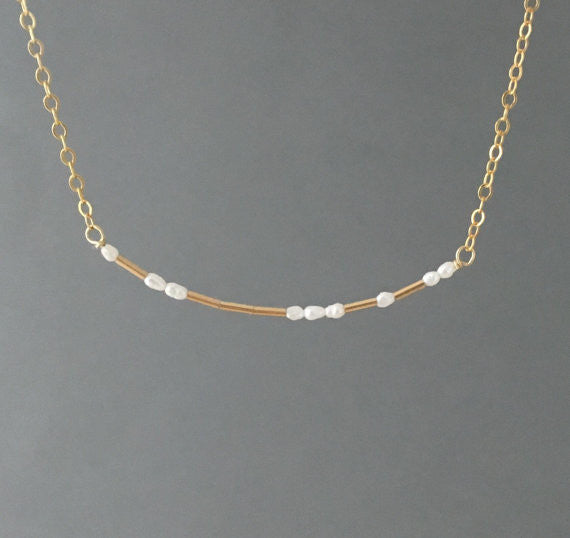 PEARL Morse Code Necklace