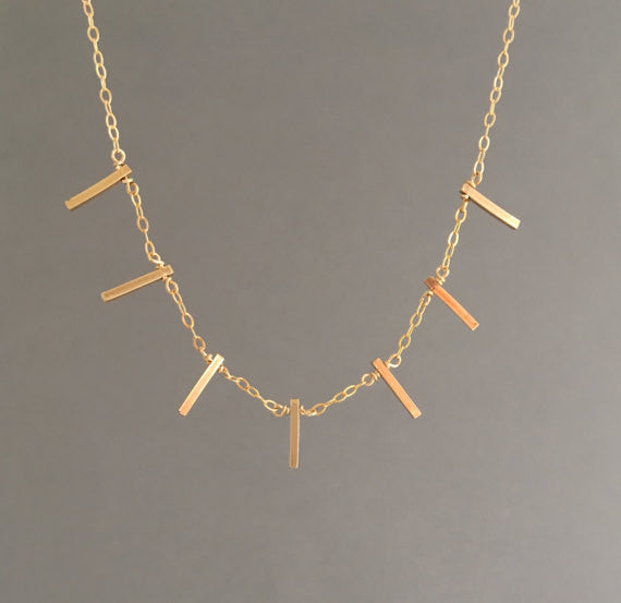 Seven Vertical Bar Necklace