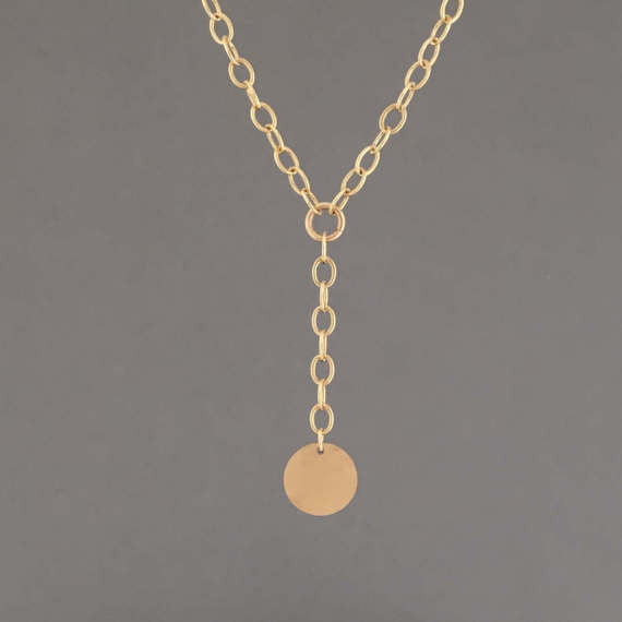 Hammered Coin Oval Link Chain Lariat Necklace