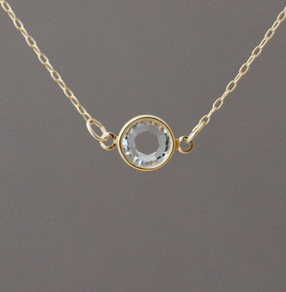 Single Clear Swarovski Crystal Necklace