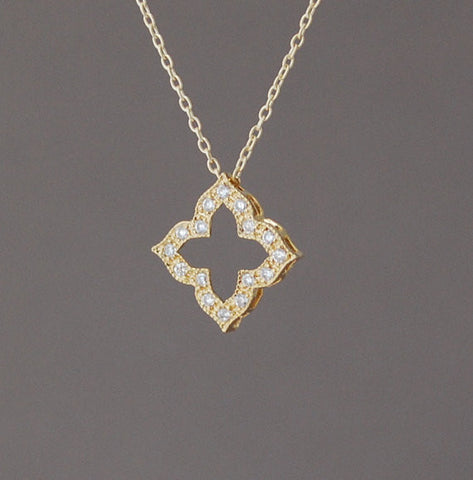 Diamond Shaped Pendant with CZ Necklace