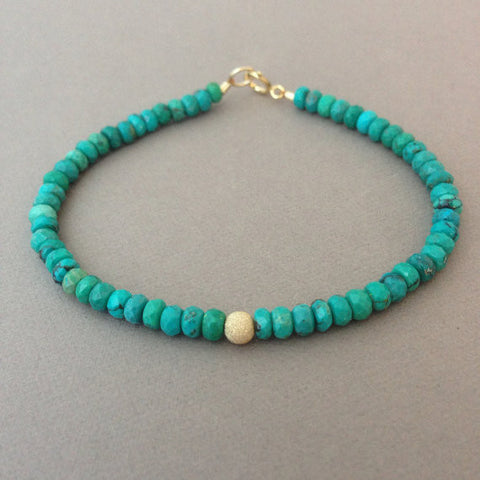 Faceted Turquoise Stone Beaded Bracelet