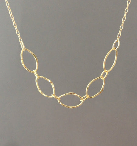 Five Hammered Link Necklace