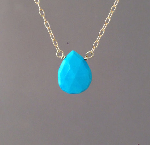 Faceted Turquoise Stone Drop Necklace