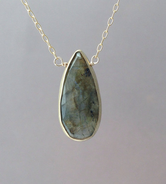 Labradorite Stone Bezel Set Necklace