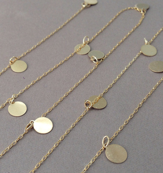 Long Discs Round Dot Necklace