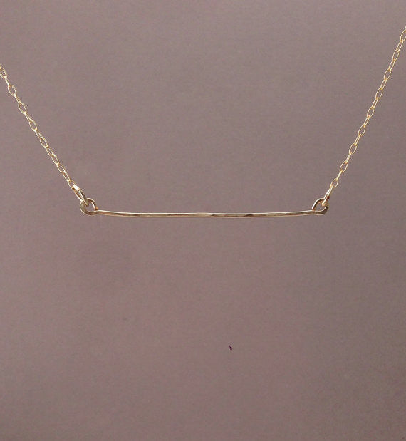 Hammered Horizontal Bar Necklace