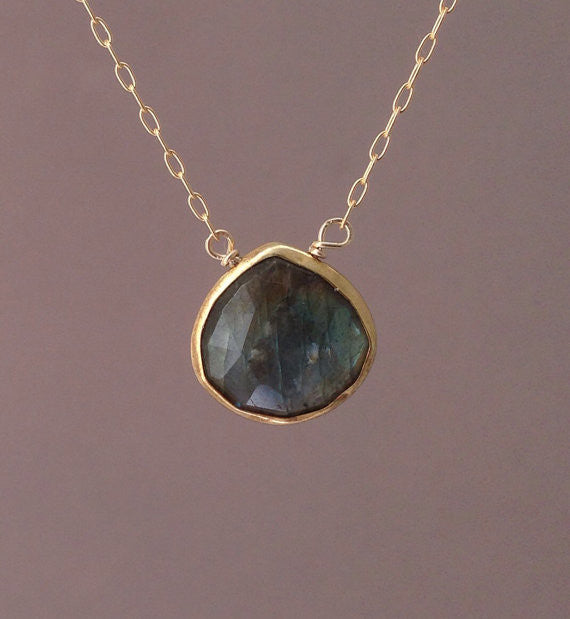 Small Labradorite Stone Bezel Set Necklace