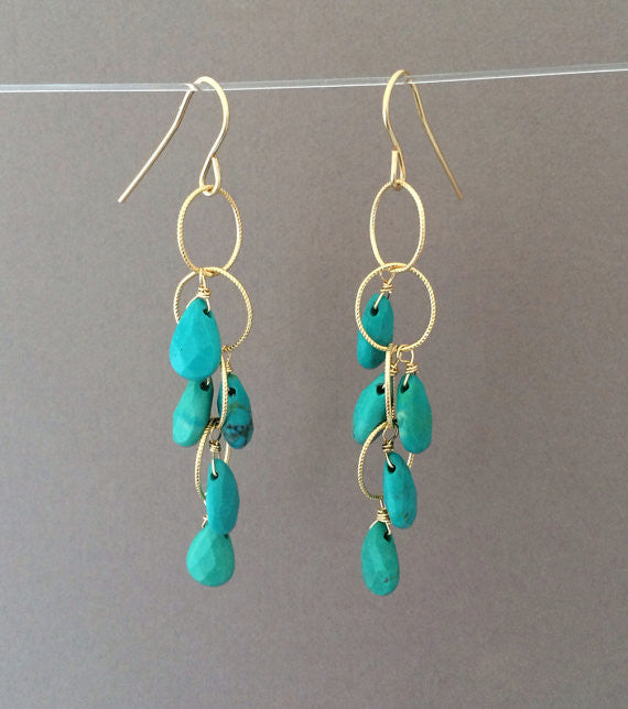 Turquoise Teardrop Circle Chain Earrings