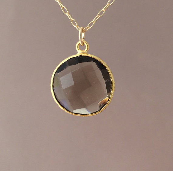 Smoky Quartz Circle Necklace