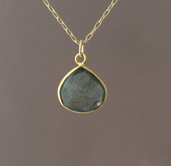 Small Gray Labradorite Teardrop Necklace