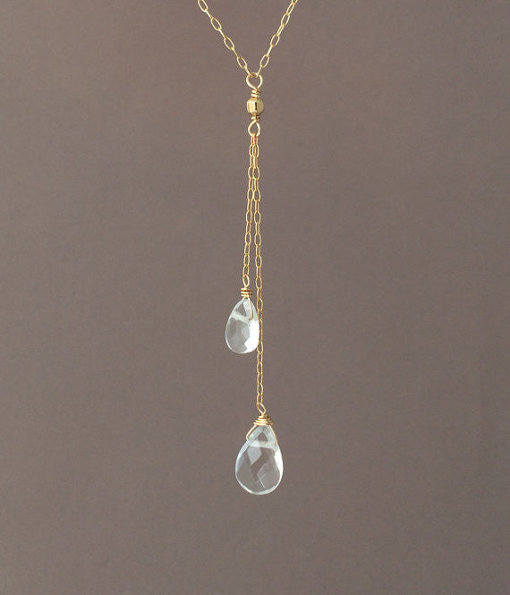Y Lariat Drop Clear Quartz Gemstone Necklace