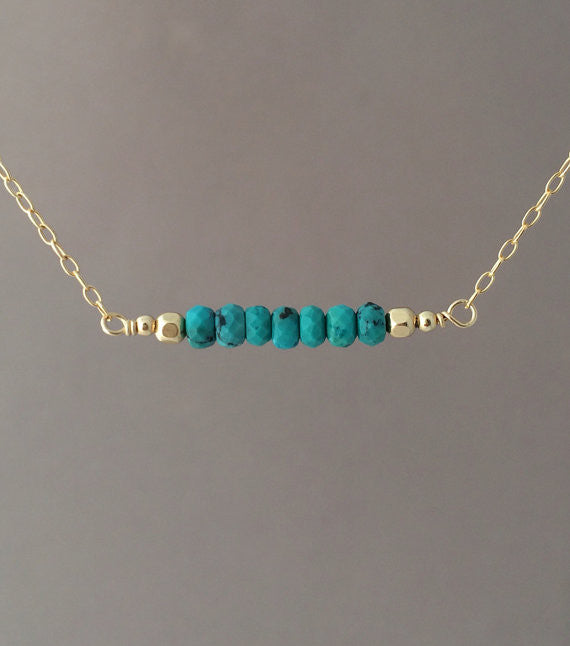 Straight Bar Blue Turquoise Beaded Necklace