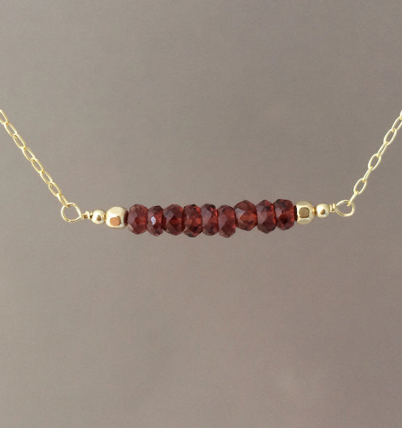 Straight Bar Red Garnet Beaded Necklace