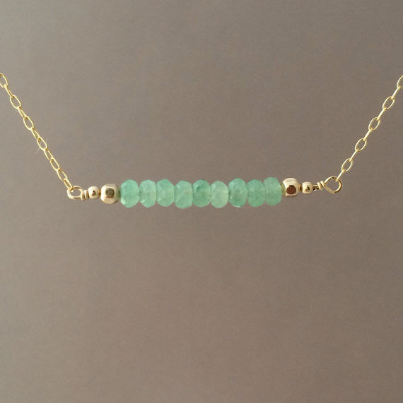 Green Aventurine Bar Necklace