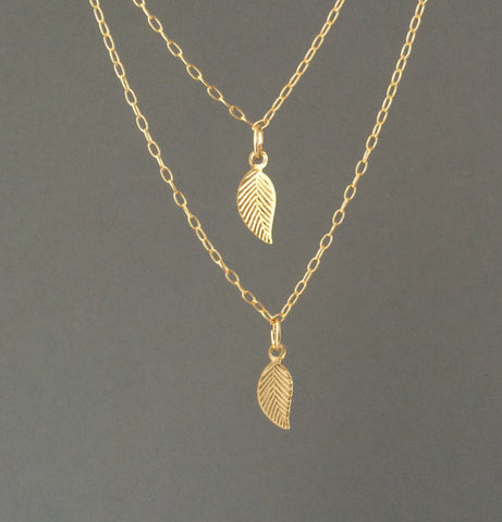 Double Strand Layered Leaf Necklace