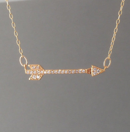 Sideways Arrow Pave Crystal Necklace