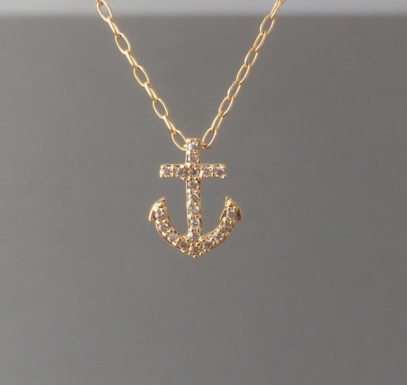 Tiny Anchor Pave Crystal Necklace