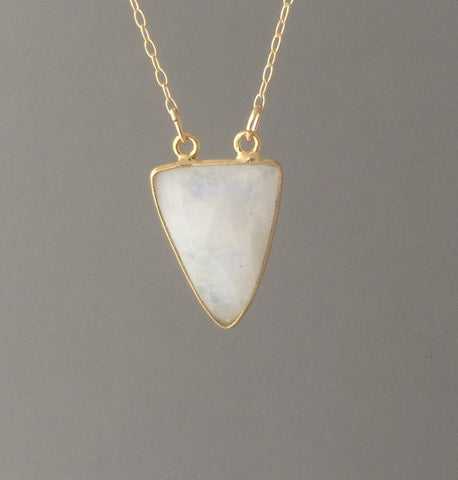 Double Connected White Moonstone Triangle Necklace