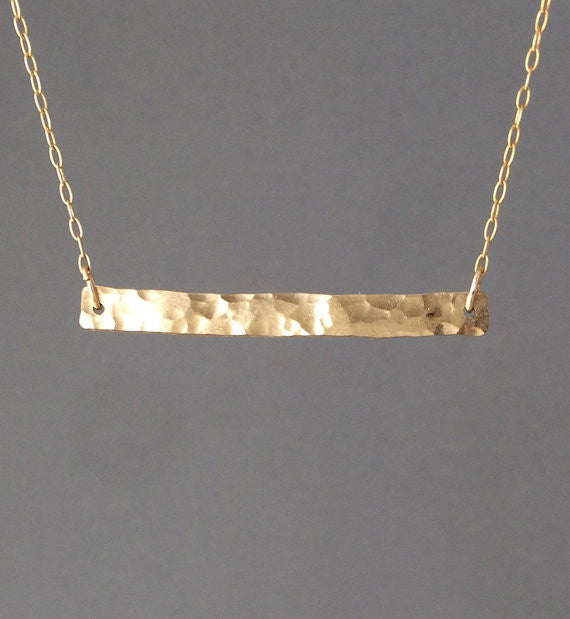 Large Hammered Bar Necklace