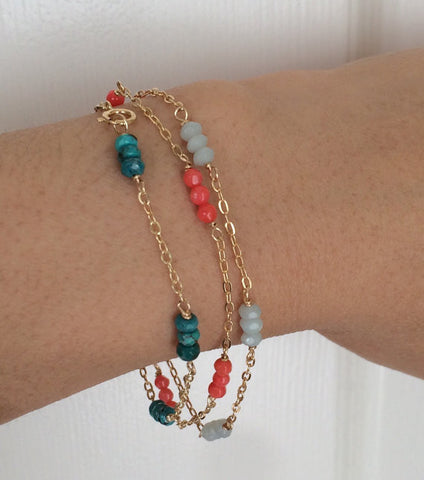 Multi Colored Gemstone Beaded Bracelet