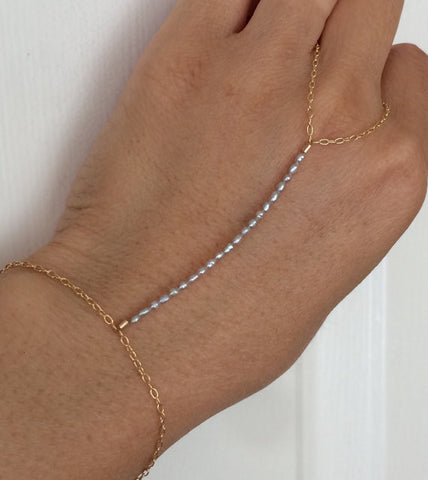 Gray Pearl Beaded Hand Chain