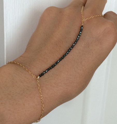 Black Hematite Beaded Hand Chain