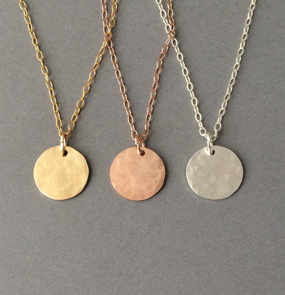 Hammered Disc Circle Necklace