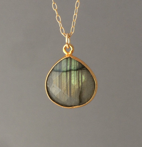 Gray Labradorite Teardrop Necklace