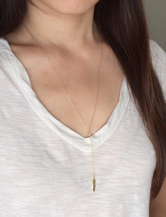 Y Lariat Drop Feather Necklace