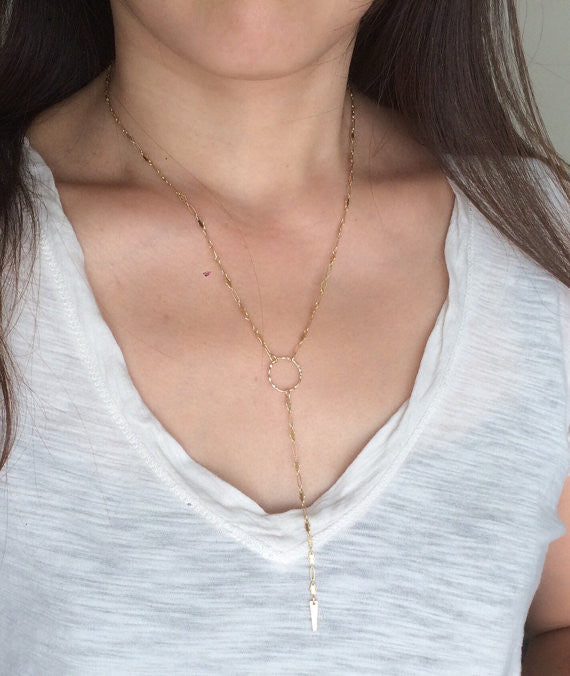 Circle Layering Chain Lariat Necklace
